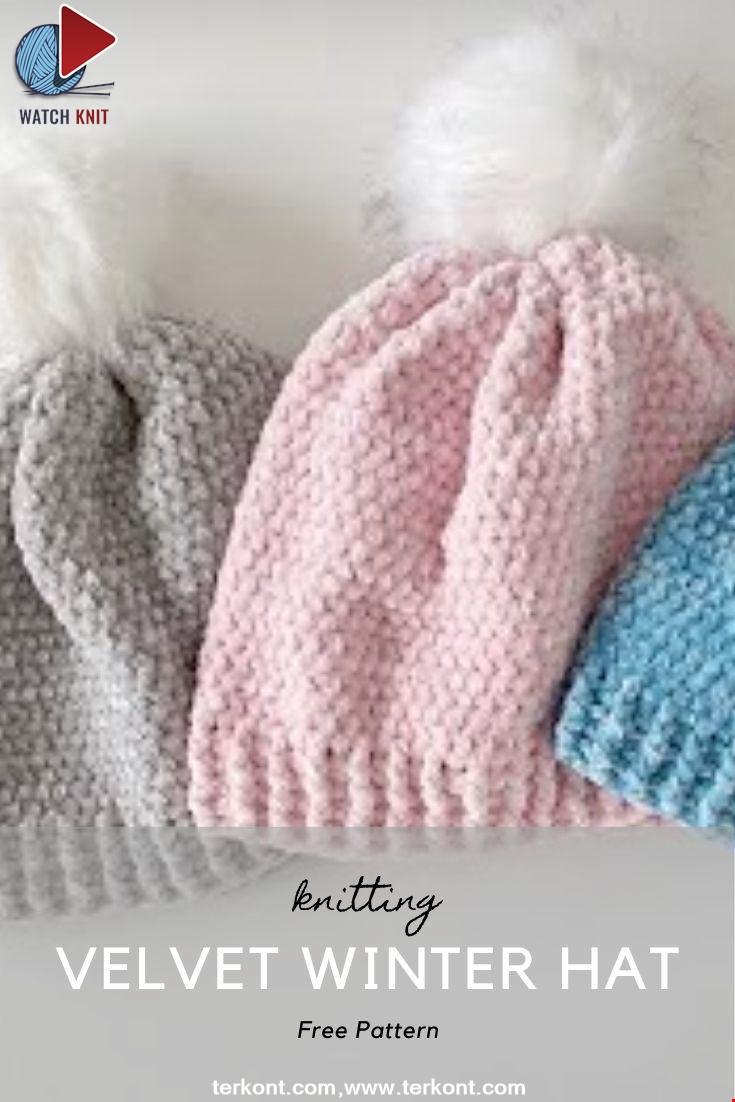 Crochet Velvet Winter Hat
