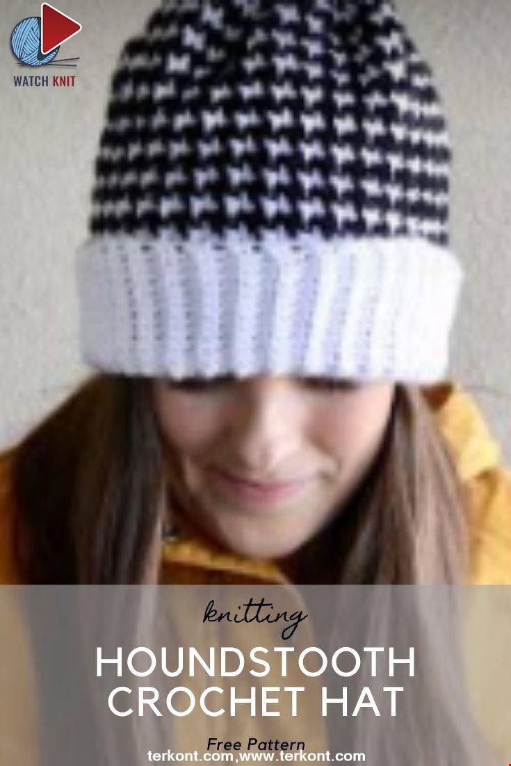 Houndstooth Crochet Hat Tutorial