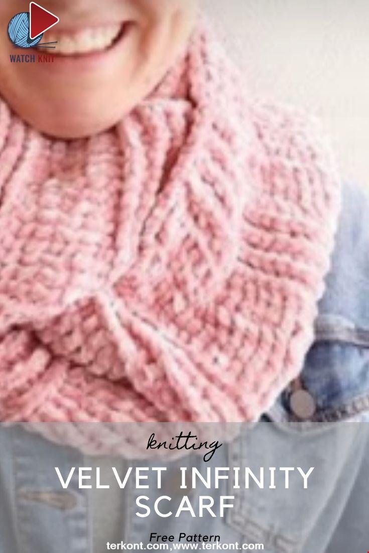Crochet Velvet Infinity Scarf