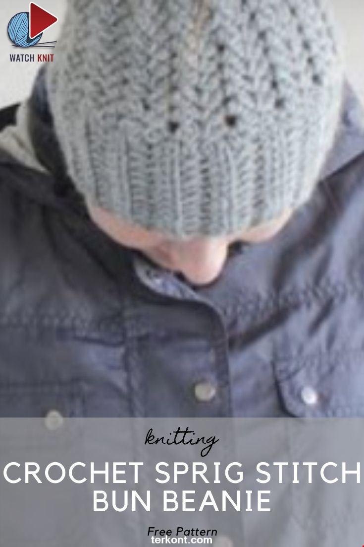 Inserting a hair tie for the Crochet Sprig Stitch Bun Beanie