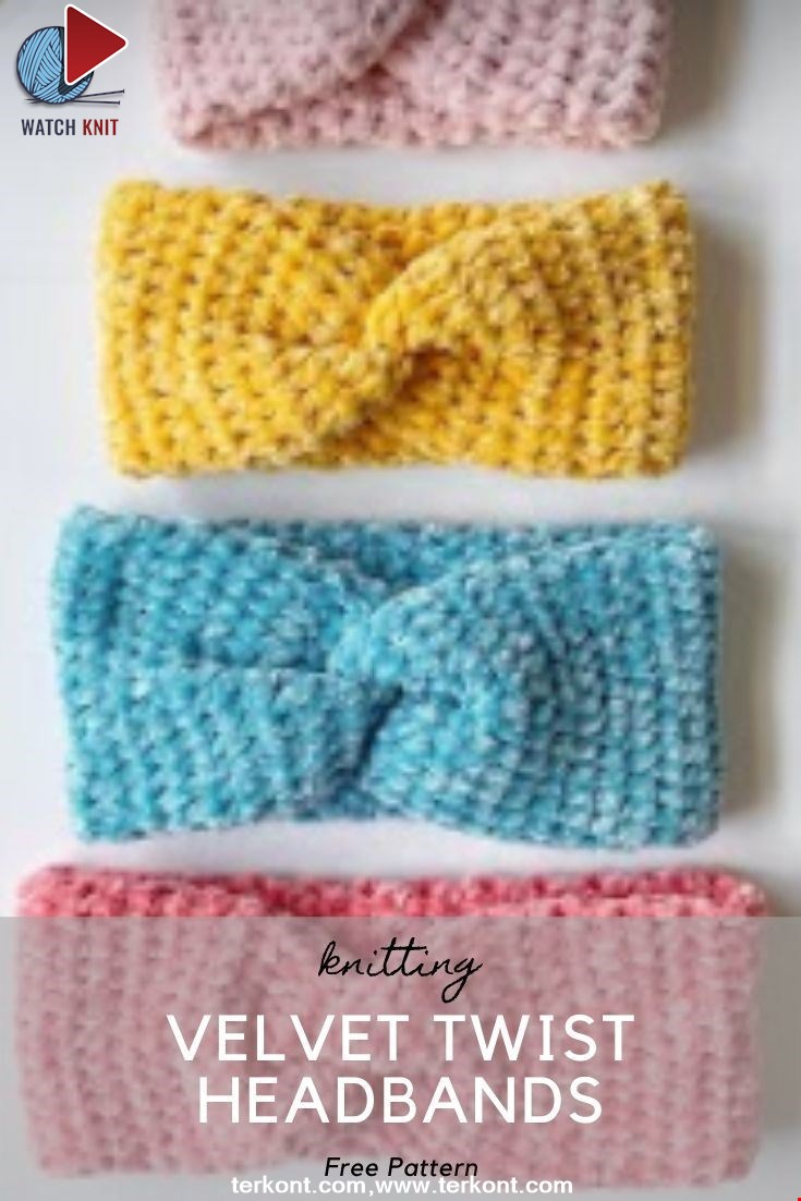 Colorful Crochet Velvet Twist Headbands