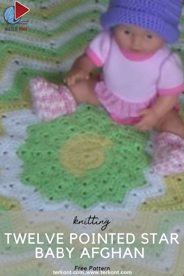 Twelve Pointed Star Baby Afghan