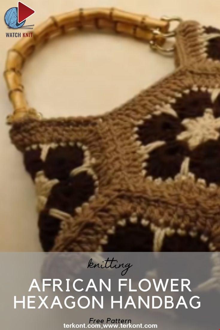 African Flower Hexagon Handbag Purse