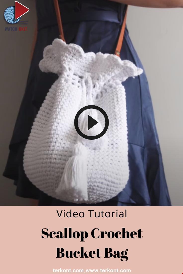 Scallop Crochet Bucket Bag