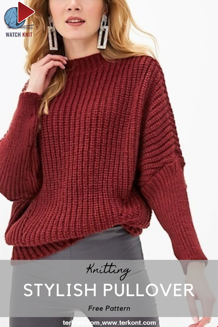 Stylish pullover with bat sleeves
